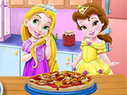 Baby Rapunzel&Belle Cooking Pizza